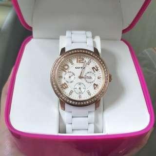GOTO 正版 玫瑰金 三眼 白陶瓷手錶 腕錶 女用(不換物)