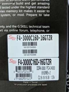 GSkill trident Z RGB DDR4 3000mhz