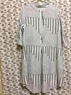 🚚 全新 幾何七分袖襯衫洋裝