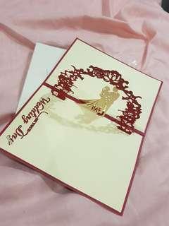 Pop up paper cut wedding card