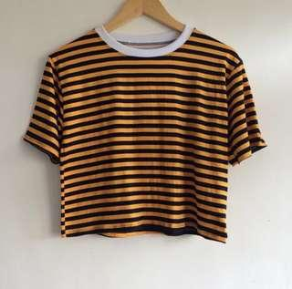 Blue and yellow striped top