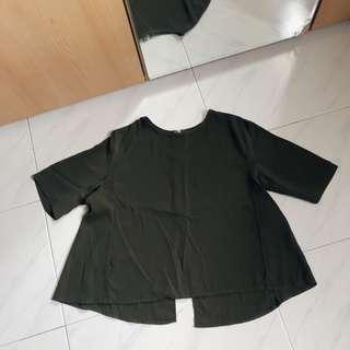 Army Green Open Back Flare Blouse