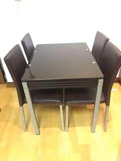 Dining table + 4 chairs (Brown, glass top, extendable)