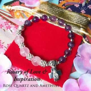 Rose Quartz & Amethyst Rosary Bracelet