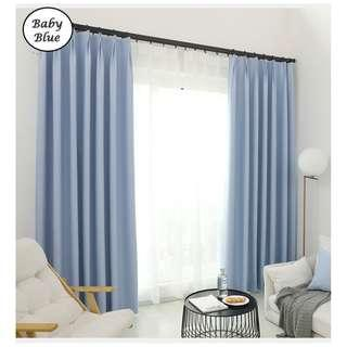 🚚 Curtain with blackout effect- 130cm by 180cm (Baby Blue)