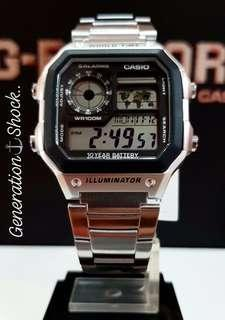 BEST🌟SELLING in CASIO AVIATORS SERIES: 1-YEAR OFFICIAL WARRANTY CASIO 100M DIVER SPORTS WATCH : TOUGH STAINLESS STEEL Officially by GSHOCK GSTEEL JAPAN COMPANY : BEST for ROUGH USERS & UNISEX : CASIO MODEL : AE-1200WHD-1A / GSHOCK / G-SHOCK / GSTEEL