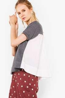 Cotton Ink Grey Adea  Mixed Fabric Top