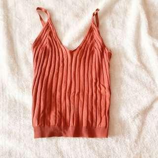 🚚 Knitted Burnt Orange Tank Top