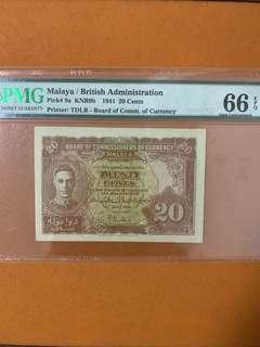 Malaya 1941 20 cents PMG 66