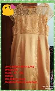 Evening dress Gold with lace