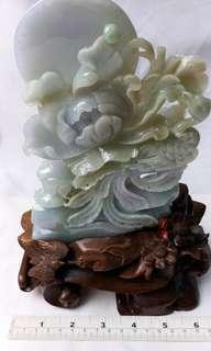 緬甸a玉 丹鳳朝陽: 雕刻牡丹鳳凰太陽擺件, 大約七吋乘4吋連特製木座