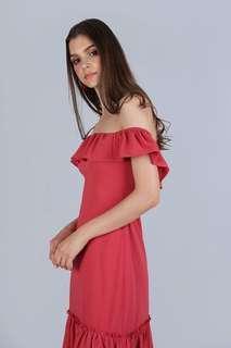 🚚 TTR The tinsel rack AMARA Off SHOULDER Dress (AUBURN)