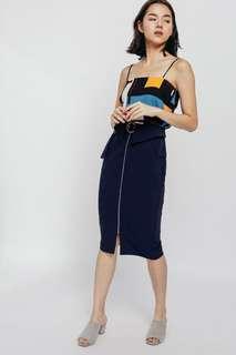 🚚 Love bonito LB Shenix belted zipper pencil skirt navy blue