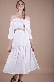 🚚 TTR the tinsel rack Gracie maxi slit skirt in white