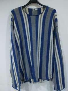 🚚 正品 calvin klein jeans 男款經典條紋針織衫 L碼 藍灰白條紋色 落肩款