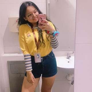 🚚 (SET) Cute Yellow Top and Denim Shorts