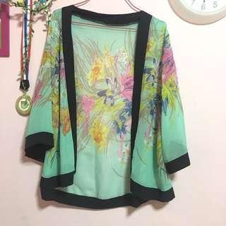 pastel green floral kimono
