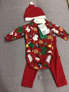 H&M 3pcs christmas newborn bodysuit