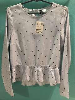 🚚 BNWT $10 H&M Hearts Blue Striped Blouse