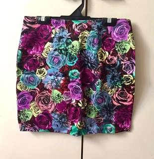 BN Floral Mini Skirt Bright colorful roses