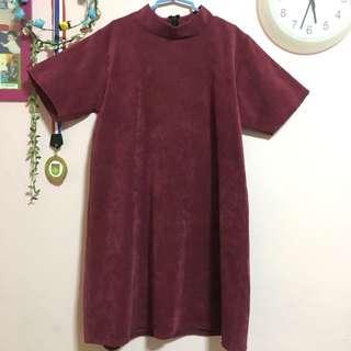 maroon ribbed mock neck dress