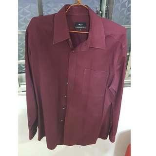 G2000 Regular Fit Red Officer Collar Shirt