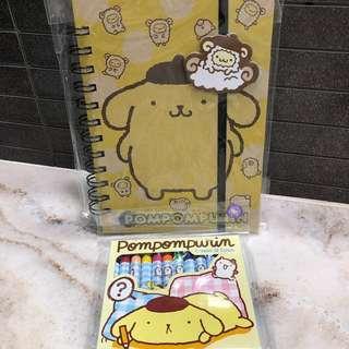 Christmas Gift 🎁: Sanrio Pompompurin notebook & 12 colours crayon