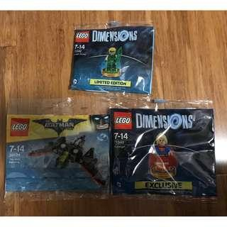 LEGO Dimensions Green Arrow 71342, Supergirl 71340 & Batwing 30524 Polybags