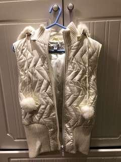 Bebe sport white puffer fur vest with pom poms