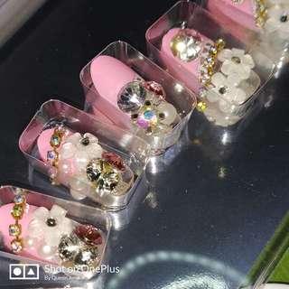 Pink Fake Nails Beads Nail Art Party Nails
