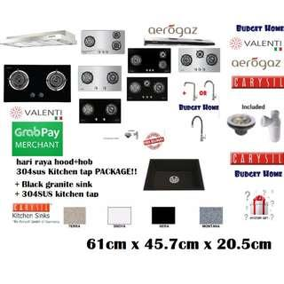 🚚 Hood & hob+granite Sink+tap !  Kitchen package . Kitchen granite sink. Granite sink .black kitchen . kitchen promotion