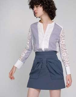 BN Saturday Club Lace Back Shirt with Contrast Stripe Front