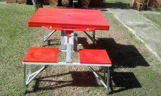 Folded picnic table