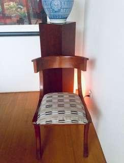Solid wood dining chairs, Jim Thompson silk upholstery