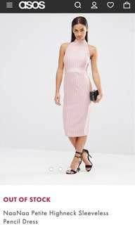 PINK PENCIL CUT HIGH NECK/TURTLE NECK DRESS