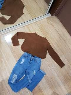 Denim Jean's and silent theory jumper