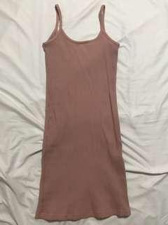 INSTOCK blush pink ribbed spag dress
