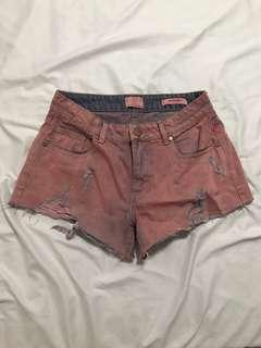 🚚 INSTOCK cotton on pink & purple mid waist ripped denim shorts