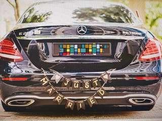 Wedding car bunting deco