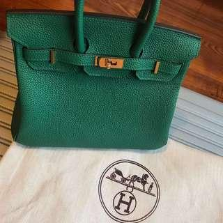Hermes Birkin Mini 25 in Jade Green Fjord leather