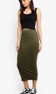 Supre ribbed midi skirt