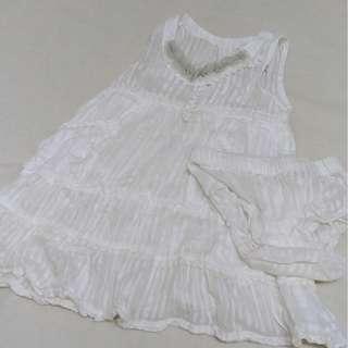 Fox Baby 12-18M white dress with undies