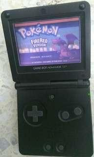 Pre-owned Nintendo Game Boy GameBoy Advance SP Black Color + Pokemon Fire Red