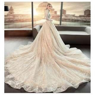 Pre order white long sleeve fishtail Wedding bridal prom dress gown plus size  RB0898