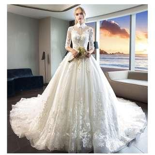 Pre order white long sleeve fishtail Wedding bridal prom dress gown plus size  RB0899