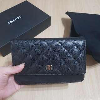 Brand new Authentic Chanel Caviar Wallet On Chain In GHW