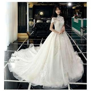 Pre order white fishtail Wedding bridal prom dress gown plus size  RB0901