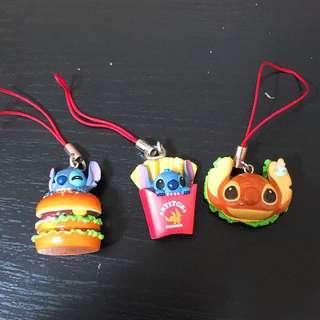 史迪仔漢堡包著條吊飾(扭蛋)一套共3個