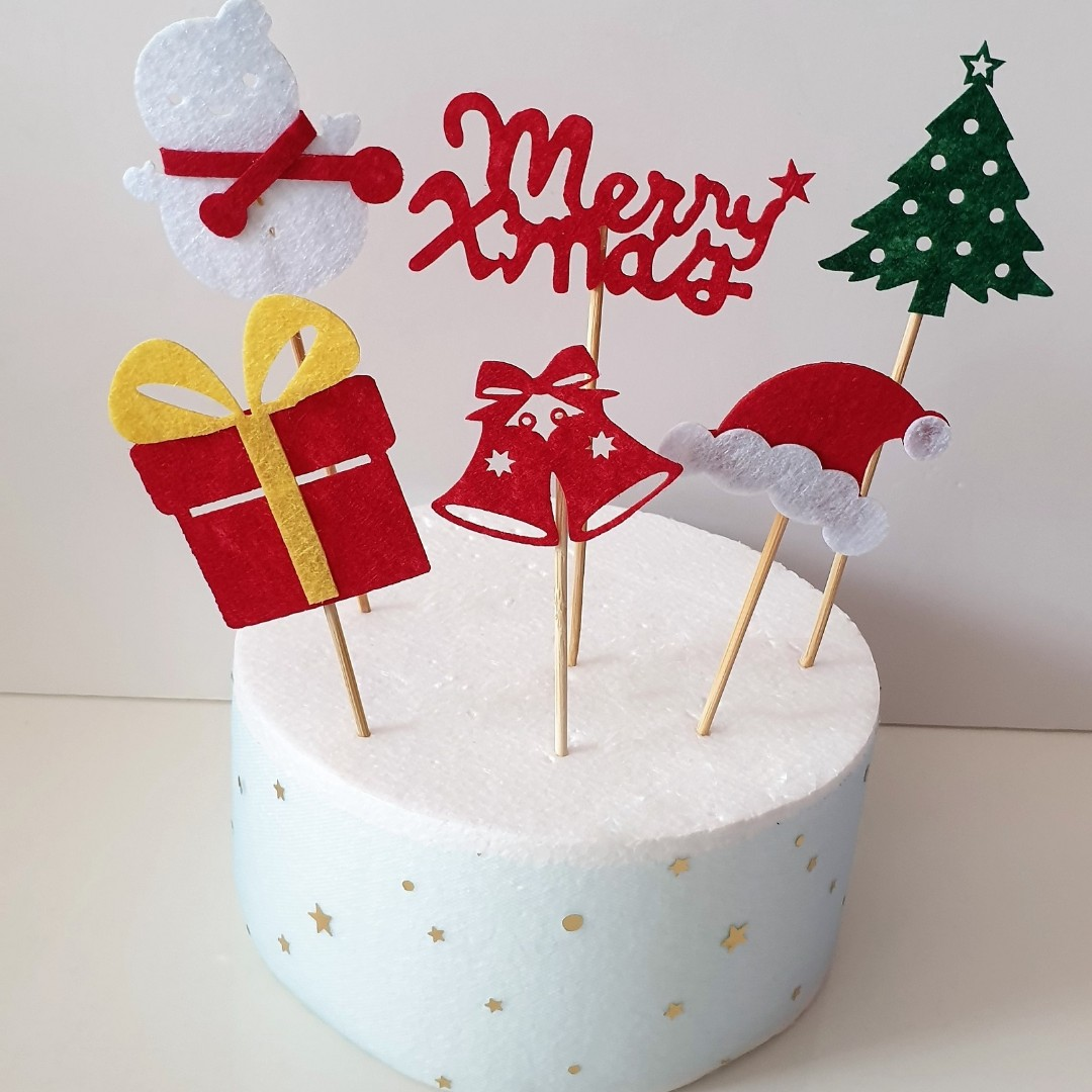 6 In 1 Christmas Cake Decoration Cake Toppers Food Toppers Design
