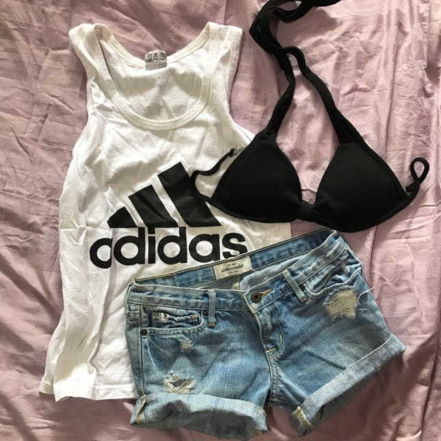 51a39df4fe Adidas Tank SOLD Abercrombie And Fitch Denim Shorts Padded Black ...